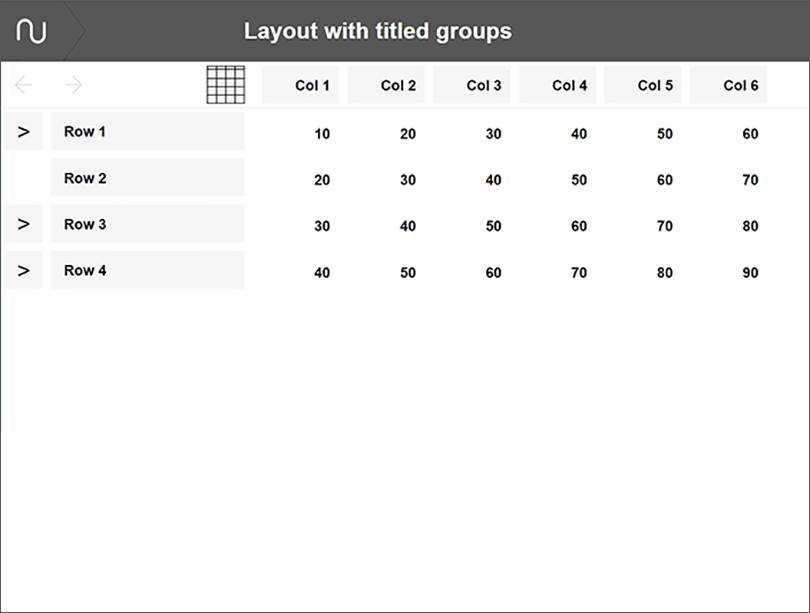 Numerable layout with titled groups