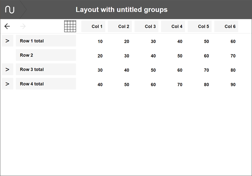 Numerable layout with untitled groupsa