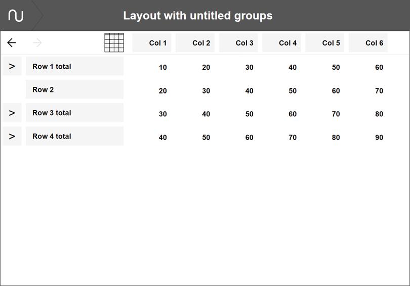 Numerable layout with untitled groupsa