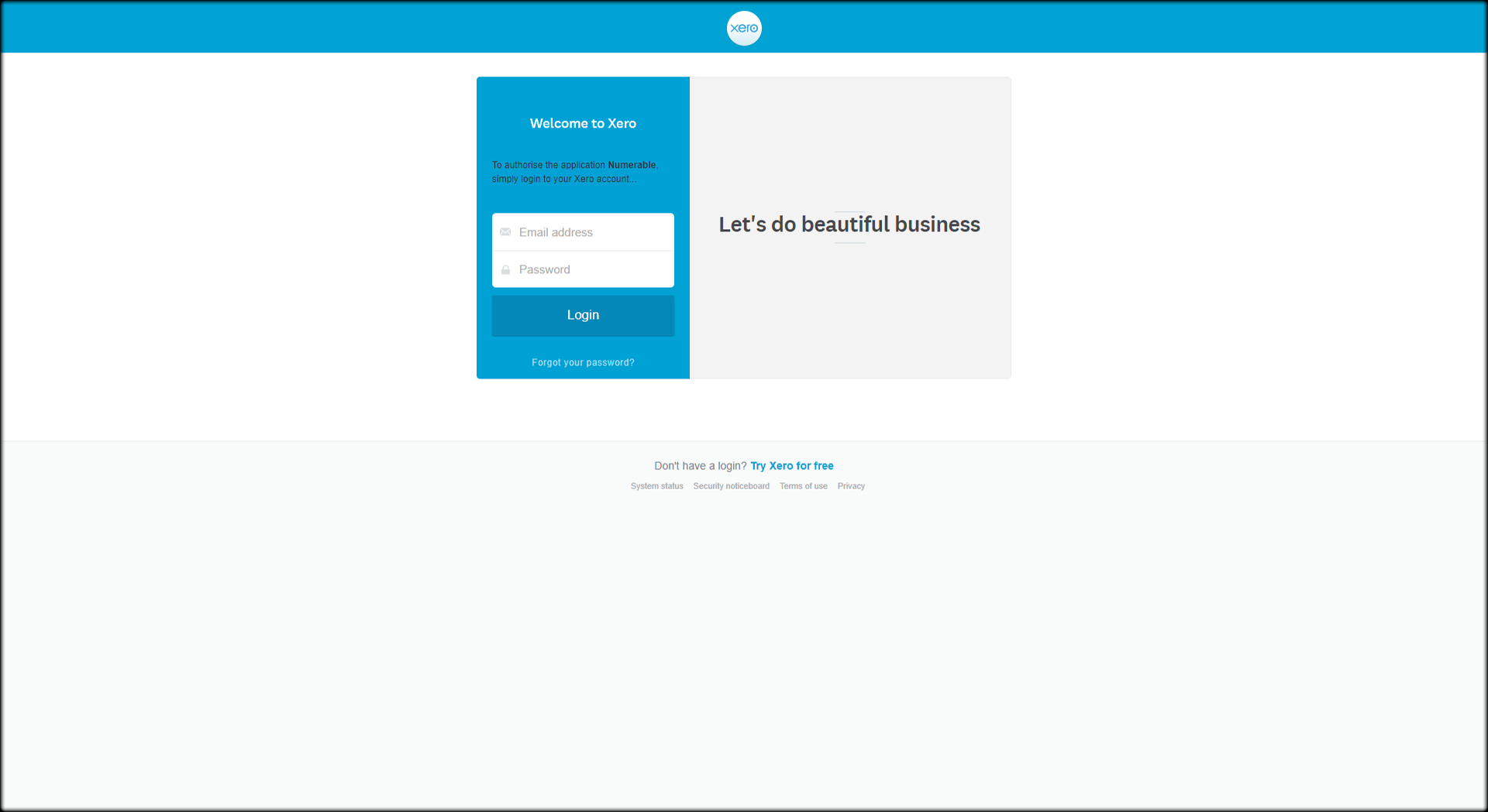 log in to xero