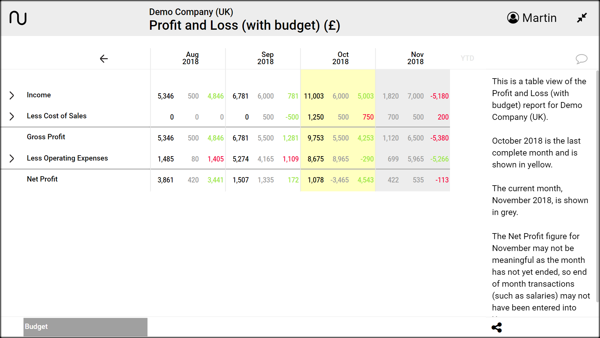 profit and loss with budget